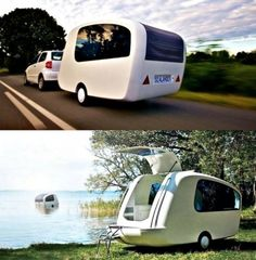 This is pretty cool, it even floats out in the water. Ultra modern camping!