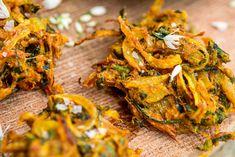 Wild garlic and onion bhaji with wild garlic raita