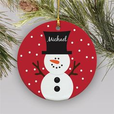 Snowman Personalized Ornament Kids Christmas Ornaments Happy New Year Personalized Ornaments, Personalized Christmas Ornaments, Handmade Christmas, Christmas Diy, Christmas Cards, Father Christmas, Handmade Ornaments, Christmas Signs, Handmade Decorations