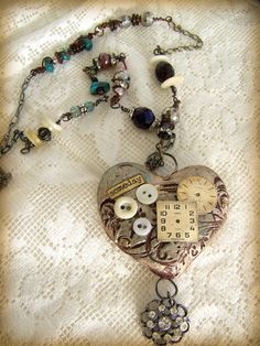 Wire Wrapped Mixed Media Altered Necklace