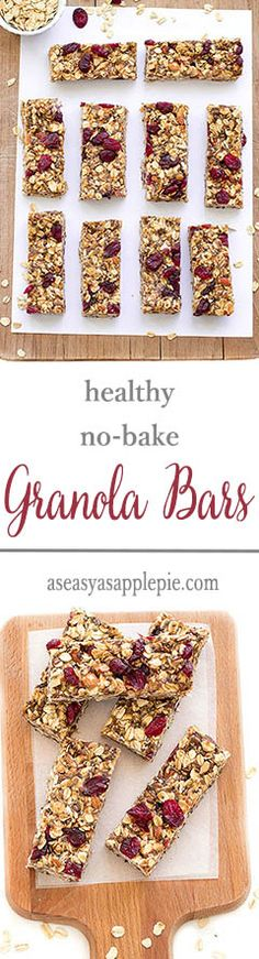 Healthy no-bake granola bars : vegan, gluten-free and refined sugar-free. Perfect for breakfast or as a snack