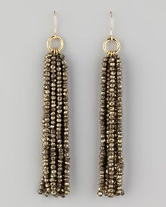 Y1C6V Nest Beaded Tassel Earrings