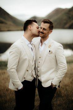These Design Loving Grooms Planned an Elegant Outdoor Wedding at Moke Lake Lesbian Wedding, Wedding Men, Wedding Suits, Wedding Couples, Elegant Wedding, Wedding Attire, Farm Wedding, Boho Wedding, Summer Wedding