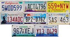8 ROUTE 66  United States License Plates - MODERN Set - CA-AZ-NM-TX-OK-KS-MO-IL