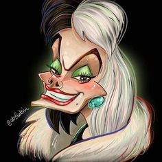 Dark Disney, Disney Love, Disney Villains, Disney Pixar, Disney Horror, Sexy Painting, Disney Paintings, Cruella Deville, Pinturas Disney