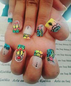 Diseños de uñas decoradas con mandalas Fingernail Designs, Nail Art Designs, Love Nails, Fun Nails, Wonder Nails, Feather Nails, Magic Nails, Short Square Nails, Fall Acrylic Nails