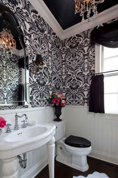 Love this bathroom!!! im not too huge on the wall paper pattern but i do like the wall paper idea