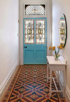 Victorian tiles and stained glass Style At Home, Hallway Mirror, Tiled Hallway, Dado Rail Hallway, Blue Hallway, Door Entryway, Victorian Tiles, Victorian Hallway, Victorian Terrace