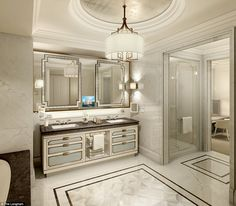 Marble has been used throughout the ensuite bathrooms - which are attached to each bedroom...