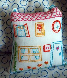 Embroidered Home Pillow