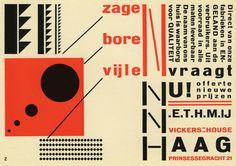 Piet Zwart's design for an advertisement, Annonce NKF N.V. Nederlandsche Kabelfabriek, Delft 1924.