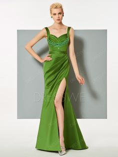 Straps Applique Pleats Mermaid Evening Dress With Side Slit 12918000 - Evening Dresses 2017 - Dresswe.Com