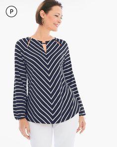 Chico's Women's Striped Peek-a-Boo Peasant Top, Deep Navy, Size: 1 M) Kurta Designs, Blouse Designs, Look Fashion, Fashion Outfits, Blouse Models, Striped Fabrics, Blouse Vintage, Peasant Tops, Blouse Styles