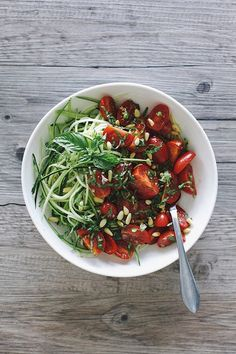 Zucchini Ribbons with Basil Balsamic Marinated Tomatoes