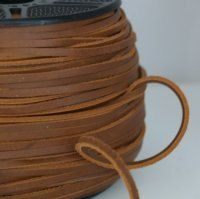 2 Meter 5mm Belting Lace Leather  - Light Brown - 2mm Thikness Bracelet Cuff
