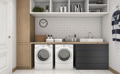 A laundry room with white tiles