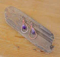 Amethyst copper hoop earrings / raw crystal by OrganicAlchemist, $24.00