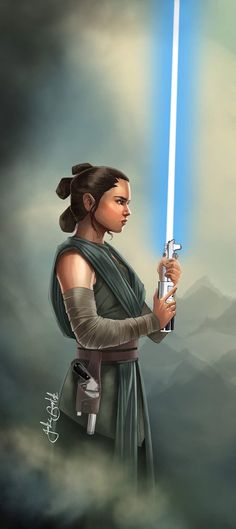 """jakebartok: """"A Rey painting from the other day. Loving the Last Jedi outfit. """""""