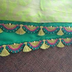 Saree Tassels Designs, Saree Kuchu Designs, Mehndi Art Designs, Bridal Hairstyle Indian Wedding, Indian Bridal, Thread Crochet, Knit Crochet, Blouse Designs High Neck, Saree Border