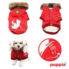 4 views of Authentic Puppia Alpine Ski-Mutt Patrol Jacket in a Rich Luxurious Bright Red with matching Supersoft Fur Trimmed Hood. (Hood is removeable)