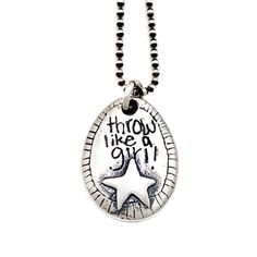 Throw like a girl | Little Bridget Jewelry Throw Like A Girl, Girls Be Like, Pearl Chain, Organizations, Equality, Dog Tag Necklace, Silver Earrings, Liberty, Dangles