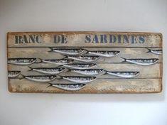BANC DE SARDINES (Peinture) par Philippe Coeurdevey Petites planches de bois peintes et cirées.