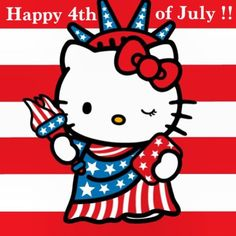 Sanrio Hello Kitty, Hello Kitty Art, Hello Kitty Items, Kitty Kitty, Happy 4 Of July, 4th Of July, Machine Embroidery Designs, Embroidery Patterns, Hand Embroidery