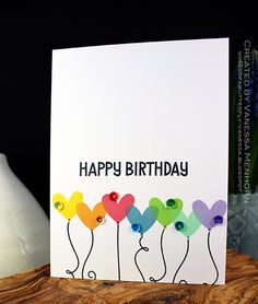 handmade birthday card ... clean and simple ... one layer ... hearts stamped in bright colors with balloon strings ... luv it!