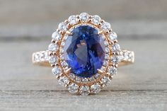 18k Rose Gold Double Oval Tanzanite Diamond Halo Wedding Engagement Promise Ring Anniversary Dainty Shank Purple Blue