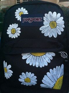 Hand Painted Daisy JanSport Backpack from MorgsCreations on Etsy. Saved to my things. Puppy Backpack, Diy Backpack, Black Backpack, Guess Backpack, Longchamp Backpack, Kipling Backpack, Prada Backpack, Backpack Essentials, Backpack Outfit
