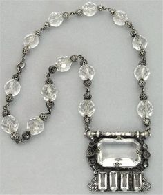 VTG 1920 s UNIQUE & RARE CZECH Signed EGYPTIAN REVIVAL Crystal Glass NECKLACE vintage jewelry x