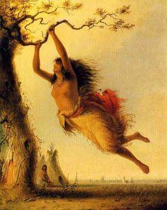 """Indian Girl oscillant"", huile sur toile de Alfred Jacob Miller (1810-1874, United States)"