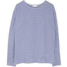 Basic Striped Extended Sleeve Top ($15) ❤ liked on Polyvore featuring tops, loose fitting tops, cut loose tops, bunny top, drop-shoulder tops and striped top