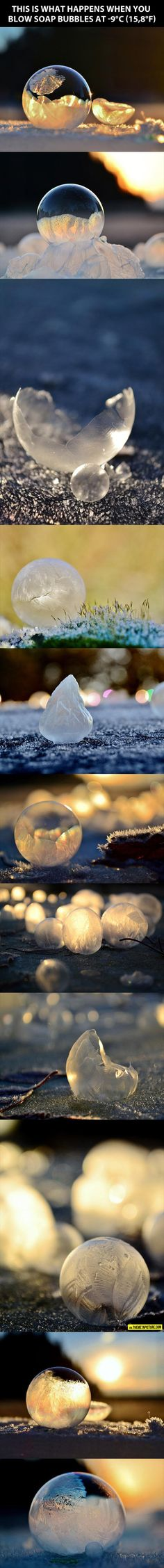 For just a moment, forget that this is a very cold soap bubble. It's cool and all, but bear with me. Instead, think of it as a model of earth & the soap is the thin layer of atmosphere with us living within the soap. Not the best analogy, but the air we rely on is about this thin when compared to the bulk of the earth. Our little bubble of air has sustained all of life that has ever been on this planet. However, in the last 100 years, mankind alone has done damage that might not ever be…