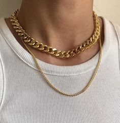 Gold Chunky Chain Necklace, Statement Necklace, Chain Link Necklace, Cuban Link Necklace, Large L Cute Jewelry, Gold Jewelry, Jewelery, Jewelry Accessories, Jewelry Necklaces, Jewelry Box, Jewelry Findings, Jewelry Armoire, Jewelry Stores