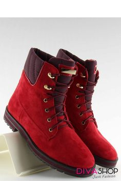Women's lace-up boots made of ecological suede. The red color catches the eye, it is impossible to pass by them indifferently. Perfect for combined with casual Women's Lace Up Boots, Types Of Heels, Shoe Boots, Shoes, Timberland Boots, Suede Leather, Street Style, Romania Bucharest, Sneakers