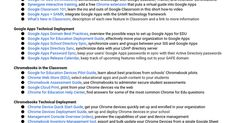 Essential Resources Guide  Google for Education offers open technology to support learning for everyone, everywhere. In this document, you'll find a compilation of resources that schools and districts across the world have used to successfully Go Google.   Before Going Google By Going Google, yo...
