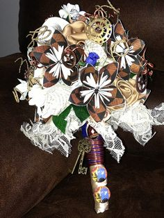 CUSTOM MADE Brown and Cream Paper Flower Steampunk Wedding Bouquet Skeleton Key Bridal Bouquet Doctor Who on Etsy, $140.00