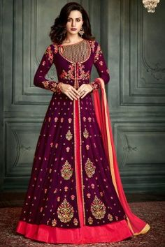 eadc6ee36c Buy Engaging Burgundy Color Embroidered Georgette Designer Sharara Top  Lehenga Online in USA with Free Shipping from Hakoba.com at low prices