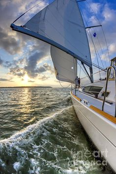 Sailing on the North Edisto Inlet During Sunset Beneteau 49 Fate