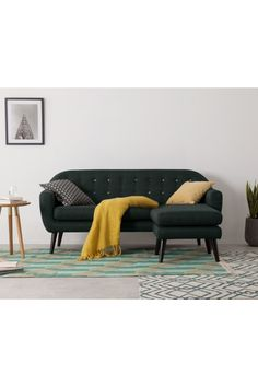Ritchie Chaise End Corner Sofa, Anthracite Grey with Rainbow Buttons Sofas, Grey Corner Sofa, Grey Lounge, Modern, Contemporary, Victorian Architecture, Pearl Grey, Danish Design, Bunt