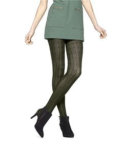 4fa27922efd1d Hue Women's Bold Cable Sweater Tights, Shadow Olive, Small/Medium at Amazon  Women's