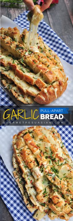 Looks impressive? It's really easy to make. 6 ingredients and 30 minutes are all you need for this cheesy garlic pull-apart bread. Serve it as a side, an appetizer, or a snack. Bring it to a potluck or tailgate party to knock everyone's socks off! #garlicbread #pullapartbread