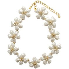 Kenneth Jay Lane Pearl Flower Necklace (26.960 RUB) ❤ liked on Polyvore featuring jewelry, necklaces, accessories, colar, collane, women, flower jewelry, gold tone necklace, 18 karat gold necklace and chains jewelry