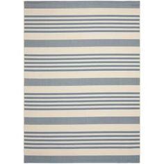 Safavieh Courtyard Stripe Beige/ Blue Indoor/ Outdoor Rug (9' x 12')