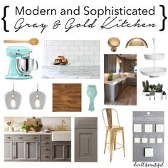 A gorgeous design for a modern and sophisticated updated kitchen. Decor, cabinets, counters, and more. Check out the mood board and what needs to be done to achieve a beautiful kitchen like this on a budget!