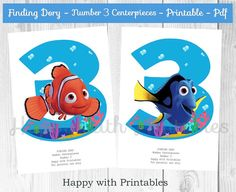 Finding Dory Number 3 Centerpieces Dory por HappywithPrintables