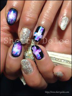 #nail #nails #nailart. Easter nails cross galaxy nail art