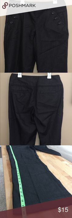 Casual/ dress pants Super soft fabric pants 52%Cotton 45%polyester 3%spandex. Can be dress up or down. Love the button  details next to the pockets.  Feel free to ask questions or to make an offer. Color is dark and black or blue maybe charcoal? Let your eyes be the judge. Willi Smith Pants Boot Cut & Flare
