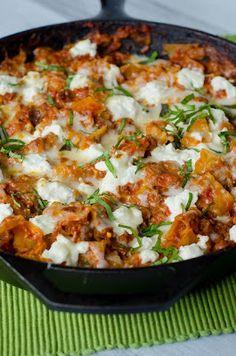 Skillet Lasagna with Garlic, Mozzarella, Parmesan, Ricotta, and Fresh Basil